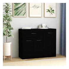 VidaXL Sideboard Black 34.6-inchx11.8-inchx27.6-inch Chipboard Storage Cabinet Organiser