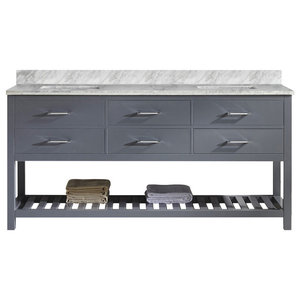 "Caroline Estate 72"" Double Vanity, Gray, Without Faucet, Square, Without Mirror"