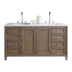 "Chicago 60"" White Washed Walnut Double Vanity, Snow White Quartz Top"