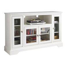 "52"" Wood Highboy TV Media Stand Storage Console, White"