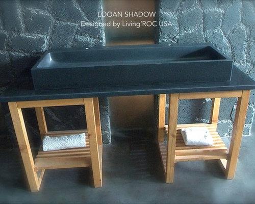 47u0027u0027 Large Deep Black Granite Bathroom Double Trough Sink Looan Shadow    Bathroom
