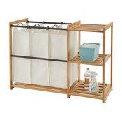 3-Bag Bamboo Laundry Station, Bronze