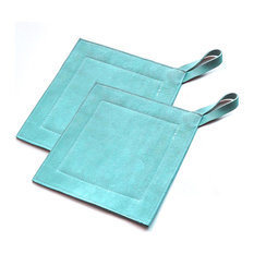 Great Useful Stuff - Genuine Leather Suede Kitchen Heat Protectors, Slate, Pot Holder, Set of 2 - Oven Mitts and Pot Holders