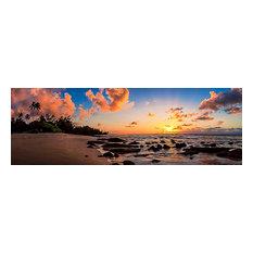 "Hawaii Ocean Sunset Panorama, Canvas Giclee, 60""x20"""