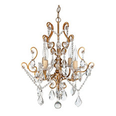 Shop top rated gold chandeliers houzz amalfi decor theresa 4 light wrought iron crystal chandelier gold chandeliers mozeypictures Gallery