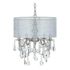 5-Light Crystal Plug-In Chandelier With Cylinder Shade, Silver, Luna