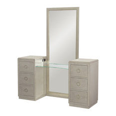 Alvoranda 6 Drawer Vanity with Full Length Mirror Brushed Gray