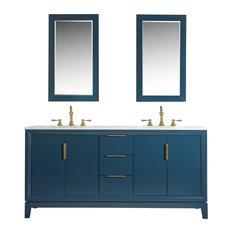 "Elizabeth 72"" Double Sink Carrara White Marble Vanity, Monarch Blue"