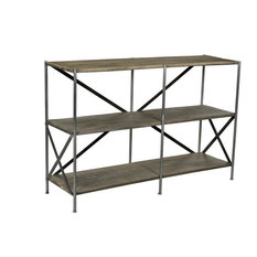 Crestview Bengal Manor Mango Wood Scraped Iron Tiered Console Table CVFNR679
