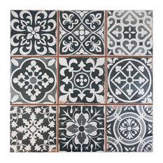 """13""""x13"""" Faventia Ceramic Floor/Wall Tiles, Set of 10, Nero"""