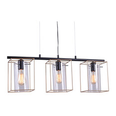 Leena 6 in. 3-Light Indoor Gold and Black Finish Chandelier with Light Kit