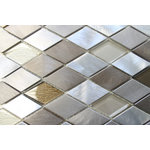 """Rocky Point Tile - Yaletown Diamond Brushed Aluminum and Glass Mosaic Tile, 12""""x12"""" - Make a statement in your kitchen with our Yaletown glass and aluminum blend mosaic. A combination of polished aluminum and glass mosaics. Colors include silver and taupe aluminum as well as brown and beige glass. You'll notice that the glass pieces have a textured backing which ads a little extra flare to this beautiful tile."""