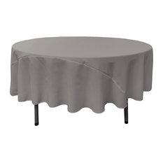 "LA Linen Polyester Poplin Tablecloth 90"" Round, Dark Gray"