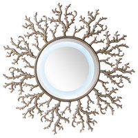 "Coral Reef 42"" Mirror, Burnished Silver"