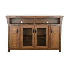 70-inch Wide Mission Tall Entertainment Console Soft White Oak