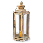 Lantern, White, Large - Illuminate the dull settings with this traditional Large White Lantern. Part of our Antique European country collection, it features a pillar like structure standing on a mount. The lantern is four sided and has a flat surface on the inner side to facilitate a standing candle.