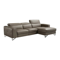 Magic Reclining Leather Sectional Sofa In Brown Right Facing Chaise