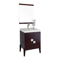 25 Inch Single Sink Vanity-Wood-Walnut