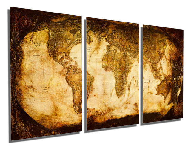 Rustic World Map Metal Print Wall Art 3 Panel Split, Triptych Wall ...