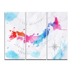 """Japan Map Watercolor"" Canvas Wall Art Print, 3 Panels, 36""x28"""