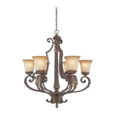 Venetian Bronze and Gold 6-Light Chandelier With Fresco Beige Glass