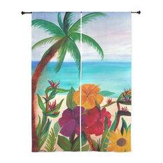Palm Tree Tropical Sheer Curtains, Tropical Floral Beach