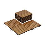Furinno Tioman Outdoor Floor Wood Tile Interlock, Honey Oak, 10 Pieces