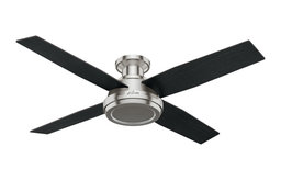 "Hunter Fan Company  52"" Dempsey Low Profile  Ceiling Fan + Remote, Brushed Nicke"