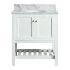 "1st Avenue - Elma White Bathroom Vanity With Carrara Marble Top, 30"" - Bathroom Vanities and Sink Consoles"