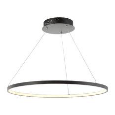 """Brice 23.7"""" Round LED Metal Chandelier, Matte Black"""