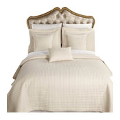 Wrinkle-Free Checkered Quilted Coverlet Set, Ivory, Full/Queen