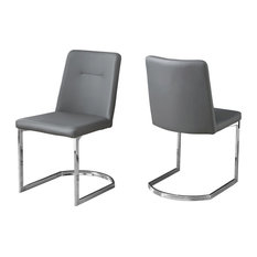 Monarch Specialties Dining Chairs Set Of 2 34 Gray Leather