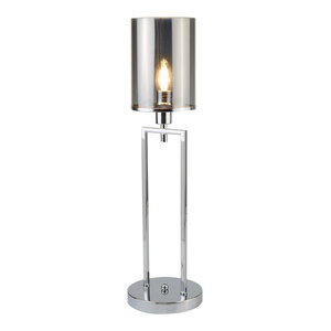 Catalina Single Table Lamp, Chrome Smoked Glass Shade