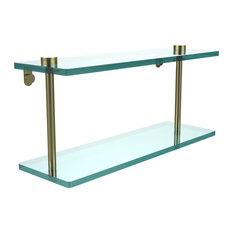 """16"""" Double Glass Shelf, Satin Brass"""