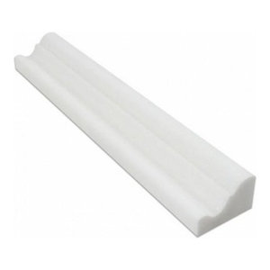 Thassos Greek White Marble Crown Molding Piece, 2x12 Honed