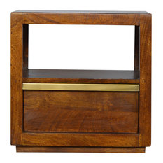 1-Drawer Chestnut Bedside With Gold Pull Out Bar