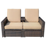 Outsunny - Outsunny Outdoor 3-Piece Rattan Wicker Patio Loveseat Lounge Chair Set - Catch some warm rays in comfort and style with the Outsunny 3-Piece Rattan Patio Love Seat Set. An exceptional design that puts function first, this outdoor love seat features padded rattan seats, while a beautiful ottoman functions as the centerpiece to your sun-soaked lounging. The MOD brand creates modern pieces that give a nod to contemporary and traditional styles that remain classic.
