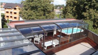 Veranda scorrevole per la piscina sul terrazzo