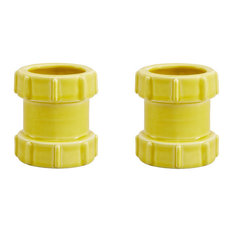 Pipe Ceramic Egg Cups, Yellow, Set of 2