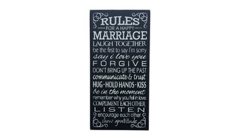 """""""Rules For A Happy Marriage"""" Wood Sign"""