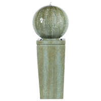 """Stone and Patina Finish Sphere on Pillar 34.5""""H Fountain"""