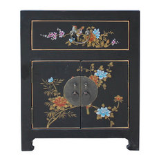 Chinese Medium Black Graphic Vinyl Moon Face End Table Nightstand Hcs4965