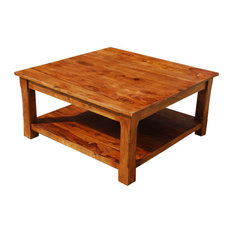 Sierra Living Concepts   Rustic Solid Wood 2 Tier Large Square Coffee Table    Coffee Tables