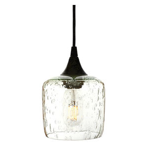 Lunar Pendant Form No. 601, Clear Glass Shade, Black Hardware, 4W LED