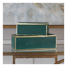 Uttermost Karis Emerald Green Boxes, Set of 2
