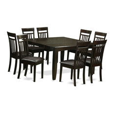 east west furniture 9 pc dining room settable and 8 kitchen chairs