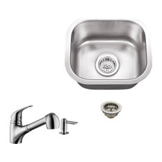 18-Gauge Single Bowl Bar Sink, Low Profile Pull Out Kitchen Faucet