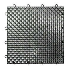 "12""x12"" Armadillo Interlocking Plastic Floor Tiles, Set of 9, Black"