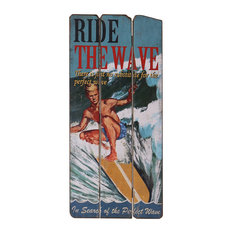 """""""Ride the Wave"""" Wooden Sign, 33x71 cm"""