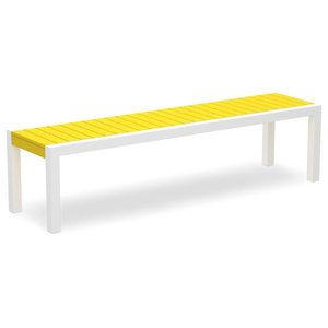 Mod Bench, Satin White Frame Lemon Seat
